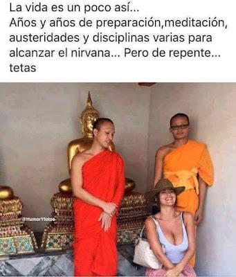 Años y años de preparación, meditación, austeridades, disciplinas, nirvana, tetas