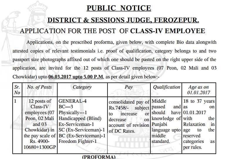 जिला एवं सत्र न्यायालय, फिरोजपुर District Court Ferozepur Recruitment 2017: 12 Peon, Chowkidar, Mali Vacancy