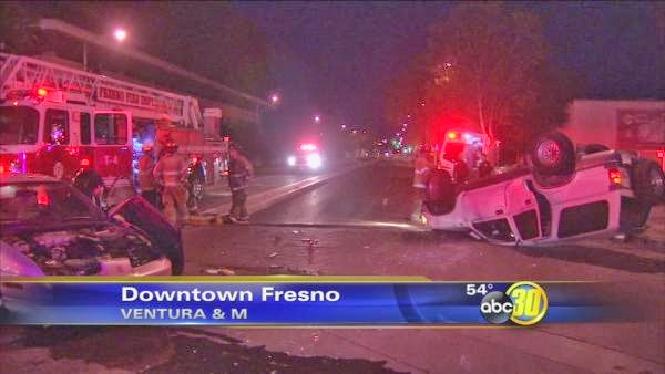 Fresno downtown ventura avenue m street car accident crash toyota 4runner saturn