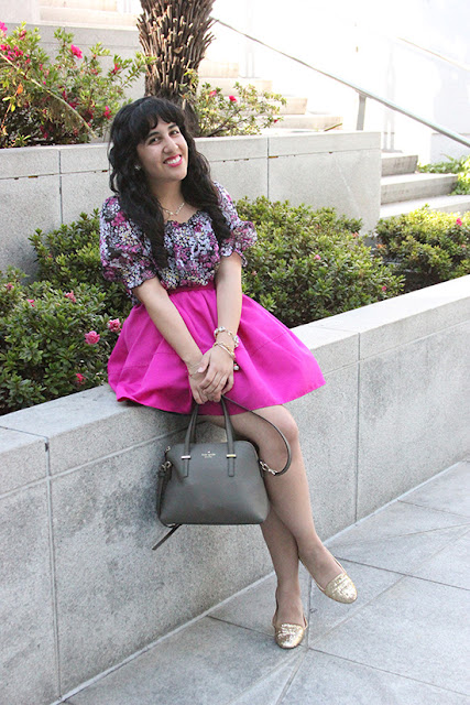 Floral Top and Pink High Waist Skirt Outfit
