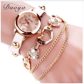 бренда Duoya с золотыми сердечками и браслетом-цепочкой