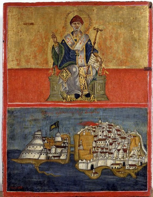 St Spyridon's miracle. St Spyridon is the patron saint of Corfu, Greece, which is depicted in the lower panel of the icon.  Late 17th - early 18th c. G. Aspiotes. Byzantine museum, Athens.