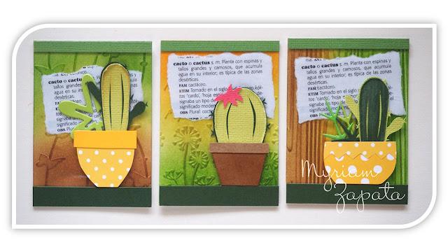 Detalle de 3 ATC Cactus. Fondo embosado en frío. Paper piecing