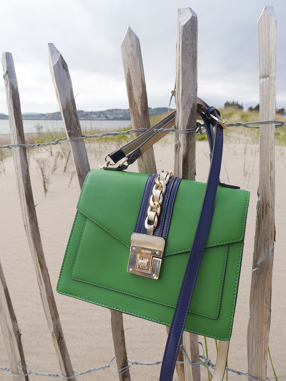 Vintage style green and navy Aldo bag