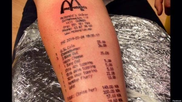 This is an image of a tattoo of a McDonaldu0027s receipt To most - tattoo release form