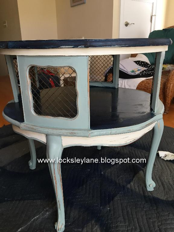 My Friendu0027s New Color Scheme Incorporates Lots Of Blues.... To Start With,  I Painted This Table In A Rich Navy. I Used General Finishes Milk Paint For  The ...