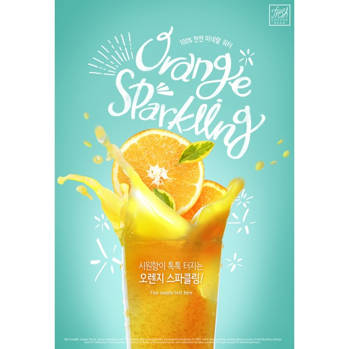 Summer Orange Juice Poster PSD Layered Poster free psd template