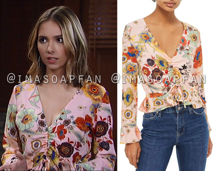 Molly Lansing Davis, Haley Pullos, Pink Floral Ruched Top, General Hospital, GH