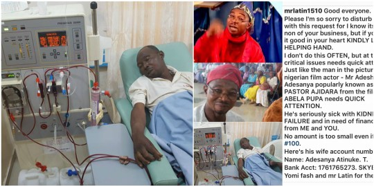 Image result for Nollywood Actor, Dr. Adesina Adesanya A.K.A Pastor Ajidara, Down With Kidney Disease