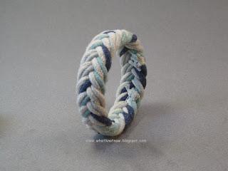herringbone weave rope bracelet blue ecru navy