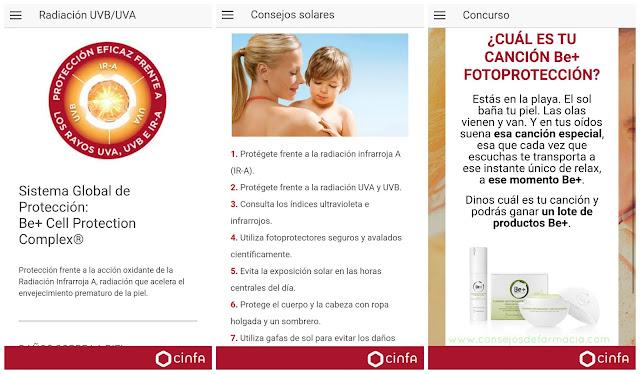 aplicación Be+ fotoproteccion - radiación, consejos