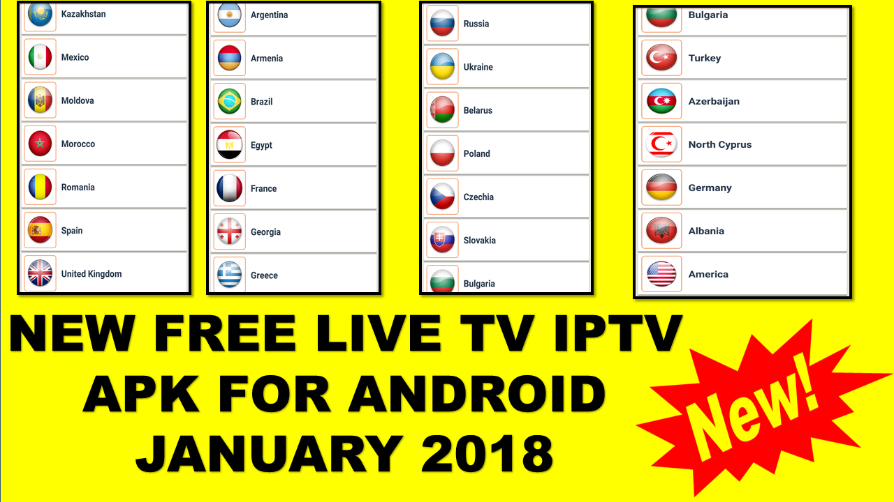 NEW FREE LIVE TV IPTV APK FOR ANDROID JANUARY 2018 - WORLD