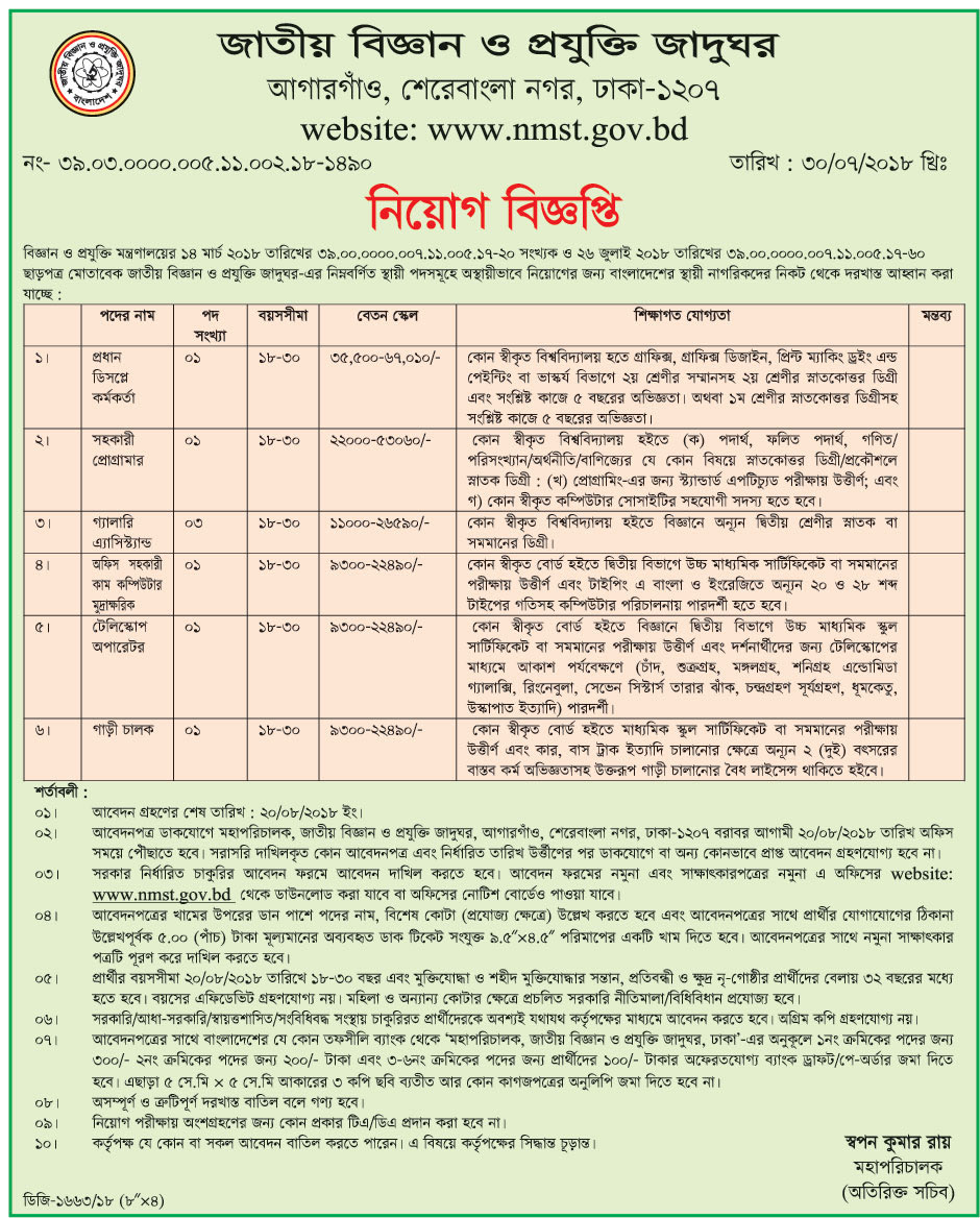 National Museum of Science and Technology Job Circular 2018