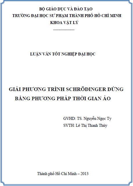 Giải phương trình Schrödinger dừng bằng phương pháp thời gian ảo