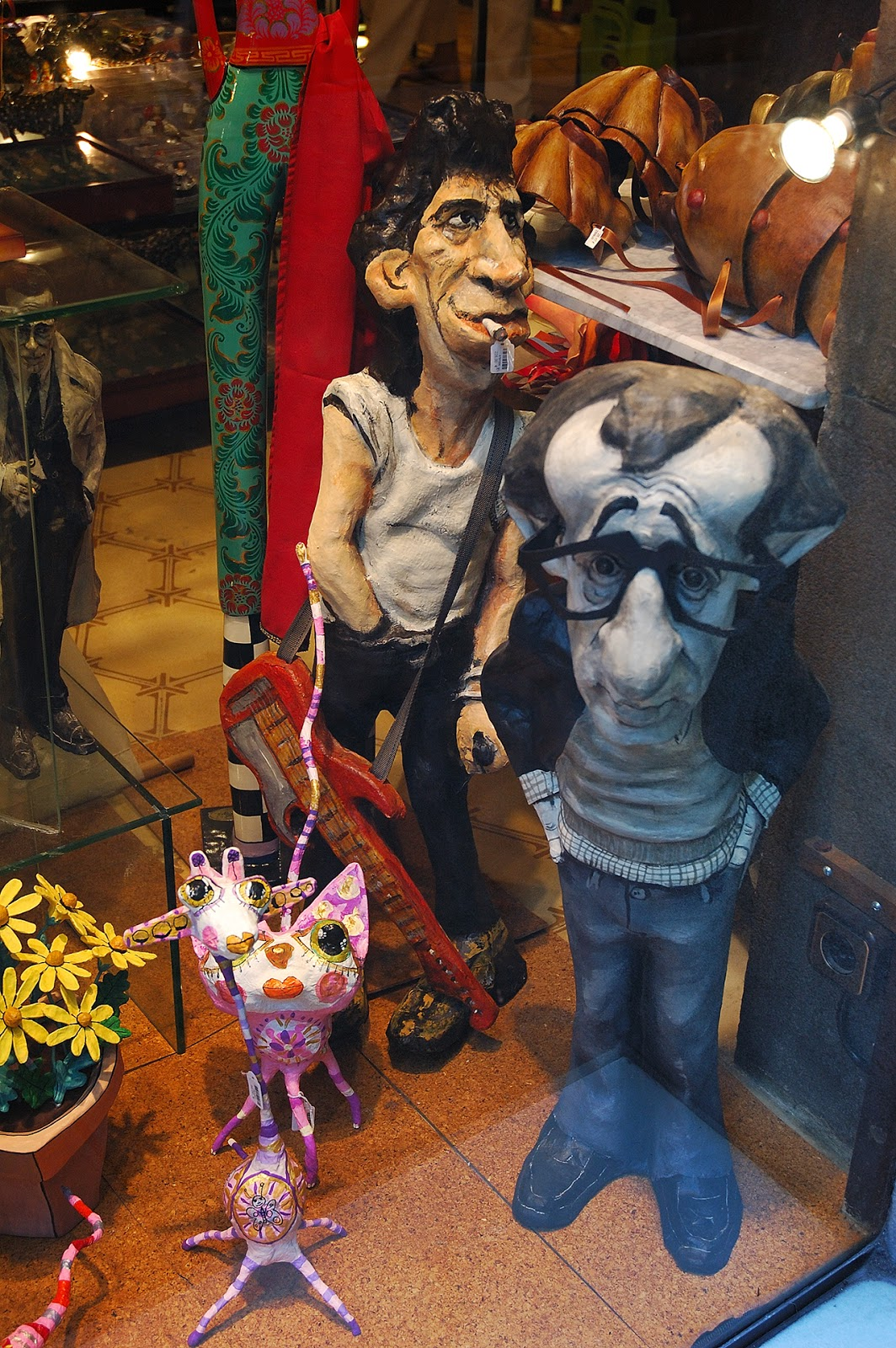Woody Allen and Keith Richards in Papier mache, Barcelona store