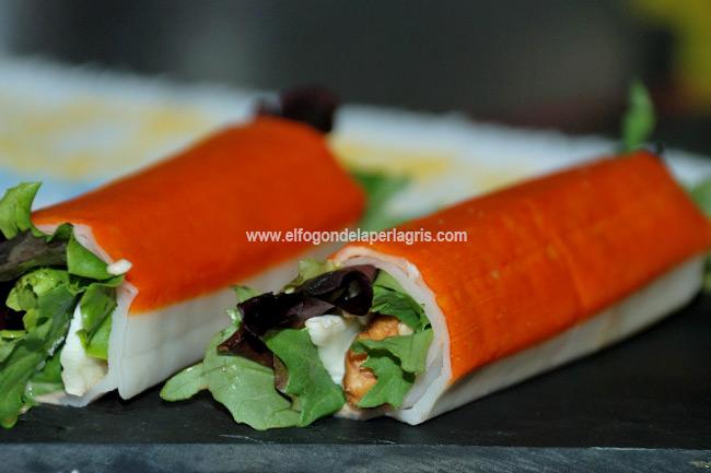 palitos de surimi rellenos de ensalada de queso de cabra y nueces