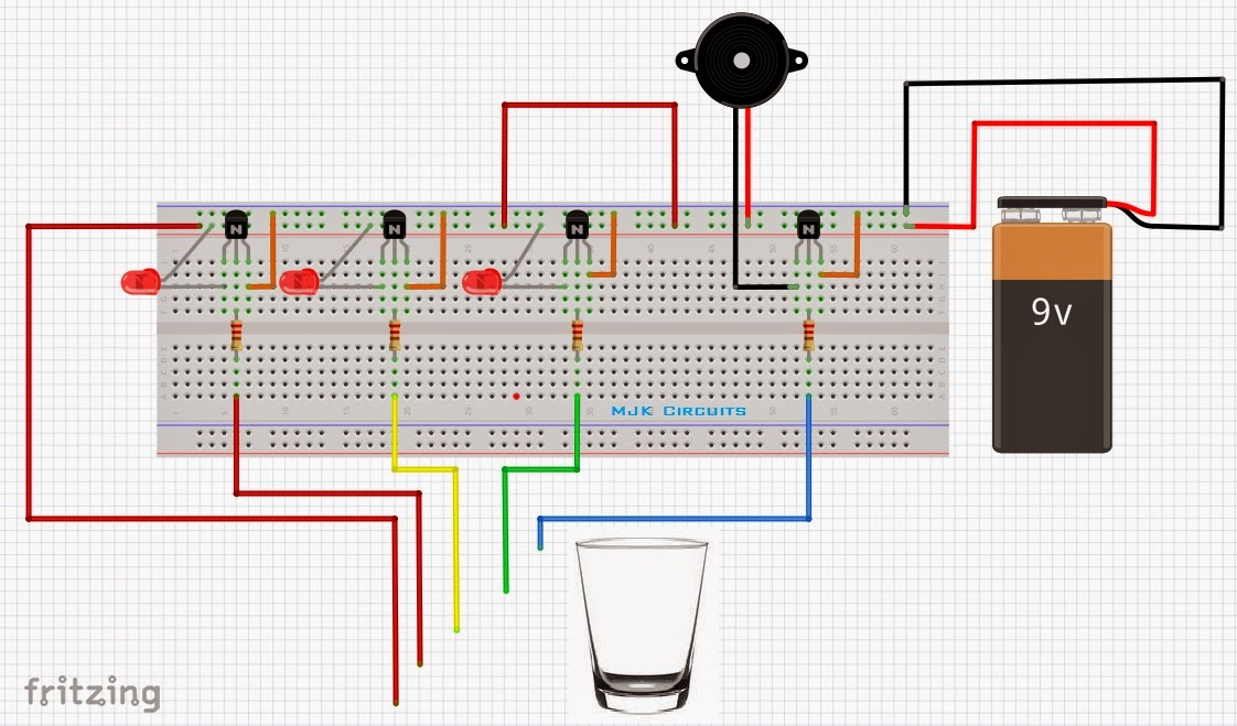 Water Level Indicator on Breadboard ~ Mjk Circuits