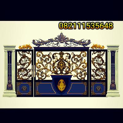 design pintu gerbang besi tempa untuk pagar klasik