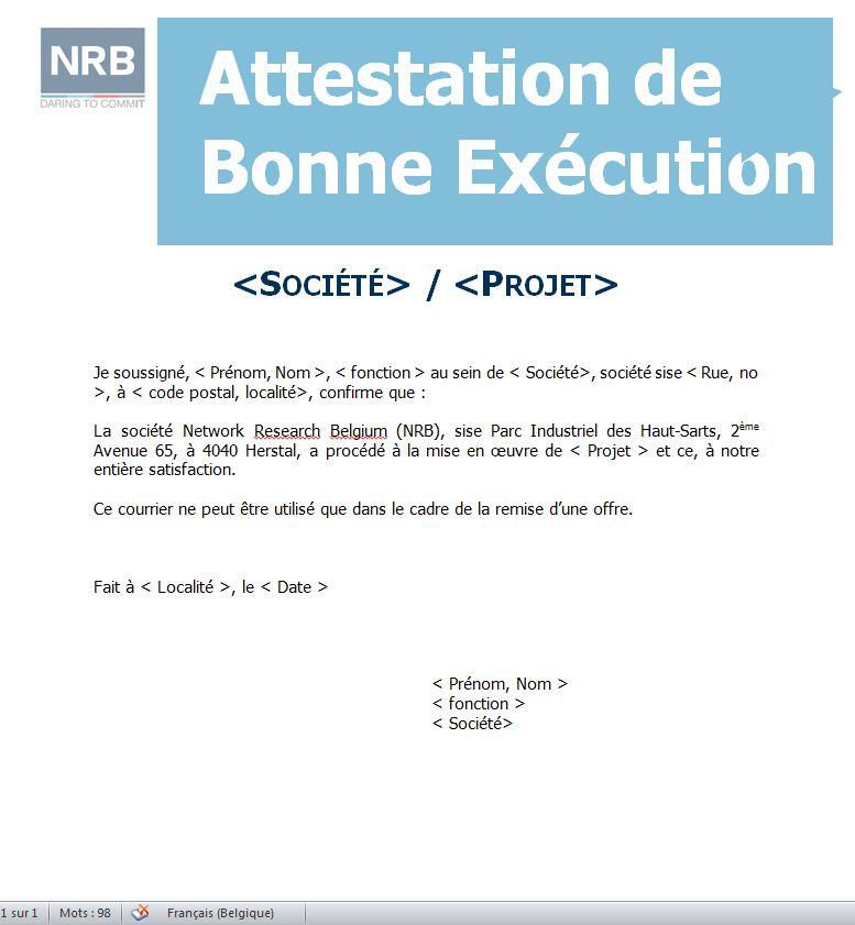 attestation de bonne execution