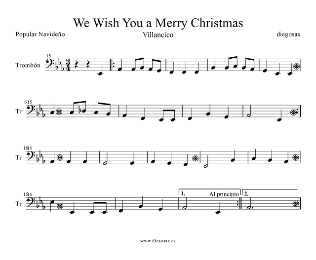Partitura de We wish you a merry christmas para Trombón y Bombardino, chelo, fagot, tuba, contrabajo... Clave de Fa Villancico Trombone, Euphonium, bassoon, cello, contrabass... Bass Clef Sheet Music Carol christmas. Para tocar con tu instrumento y la música del vídeo
