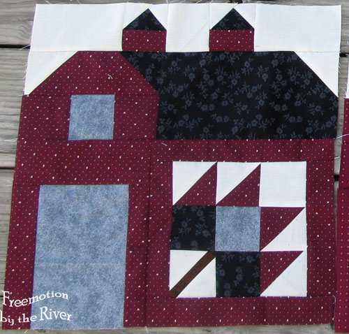Red barn number 5 for Quilty Barn Along at Freemotion by the River