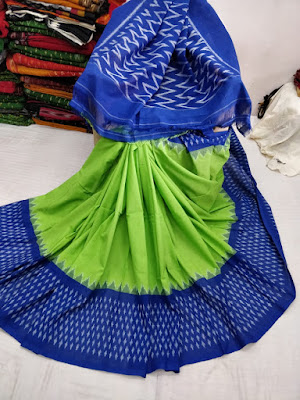 Exclusive Ikkat/Ekat merceraized cotton sarees with blouse piece | No COD cash on delivery available