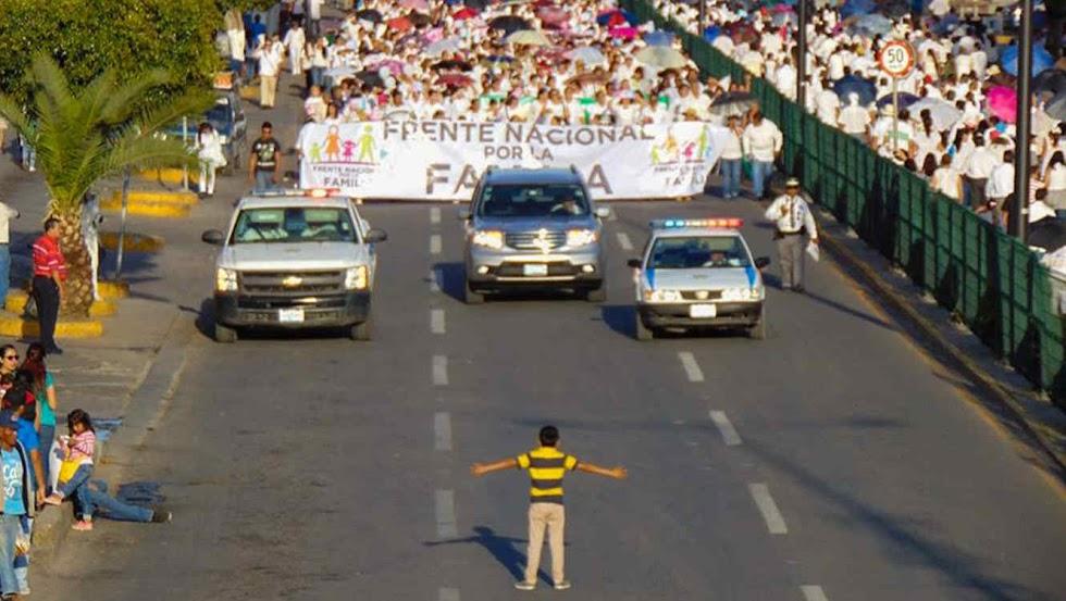 Foto de menino de 12 anos tentando impedir passeata homofóbica viraliza