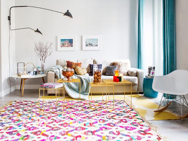 Culori tari într-un apartament de 75 m² din Madrid