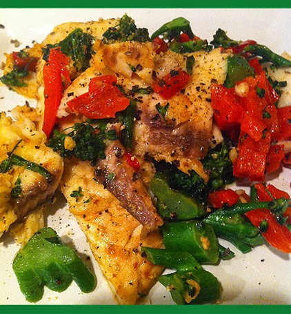 Tilapia Scramble with Broccolini and Red Pepper