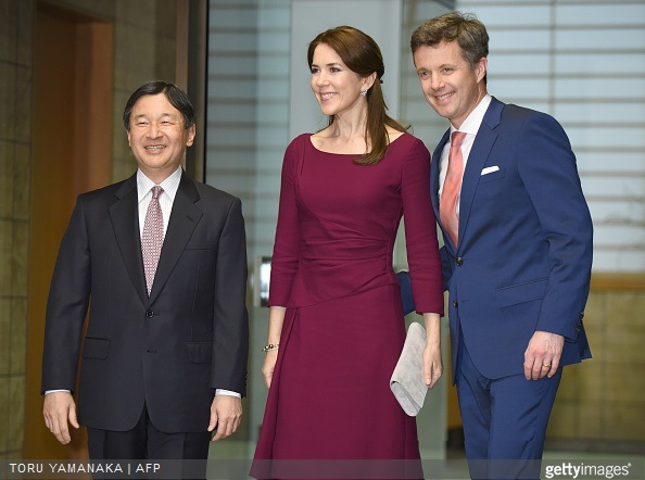 Crown Prince Frederik and his wife Crown Princess Mary is welcomed by Japanese Crown Prince Naruhito upon their arrival for a dinner at the Akasaka Palace