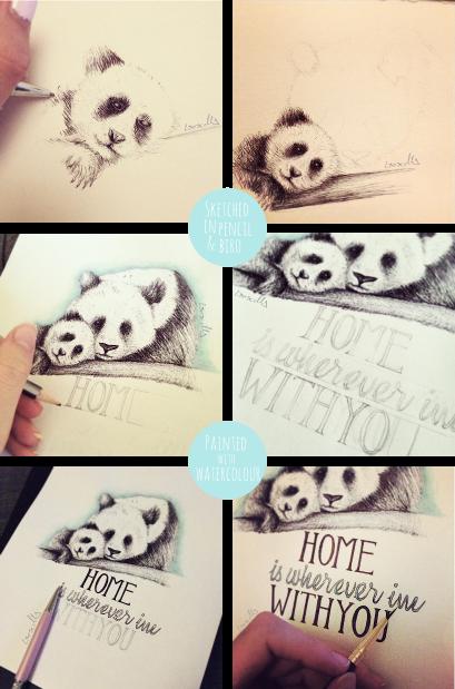 Motivational monday home panda illustration