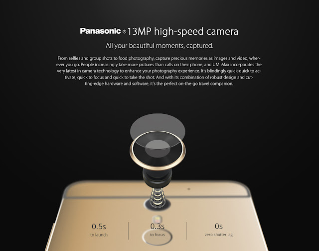 Camera: Back camera 13.0MP with flashlight + front camera 5.0MP  To capture the important moments or take pictures selfie. There are cameras manufactured by Panasonic. Can also be used for food photography.