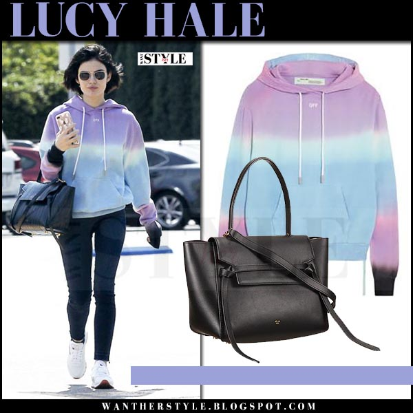 Lucy Hale in purple tie-dyed hoodie what she wore april 25 2017