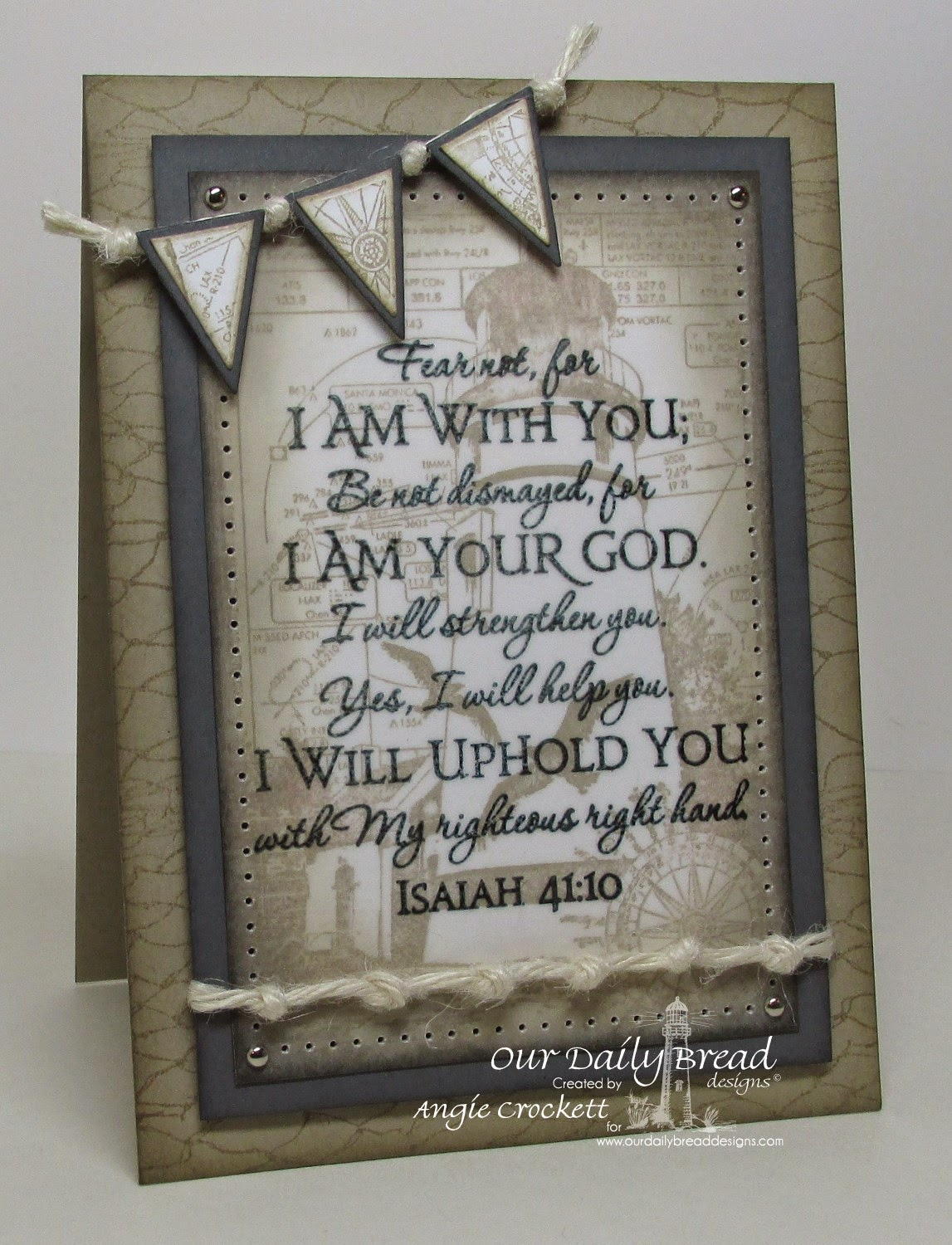 ODBD Scripture Collection 1, ODBD Keep My Lamp Burning, ODBD Fishing Net Background, ODBD Custom Pennants Dies, ODBD Custom Pennant Row Dies, Card Designer Angie Crockett