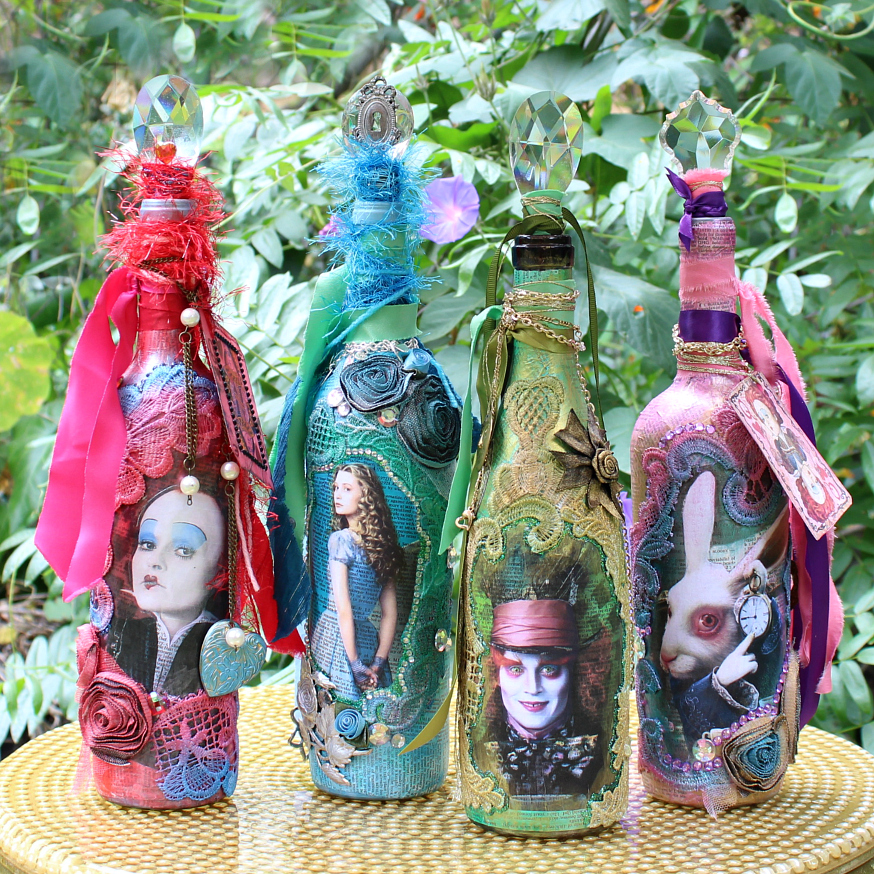 mark montano alice through the looking glass mixed media bottles. Black Bedroom Furniture Sets. Home Design Ideas