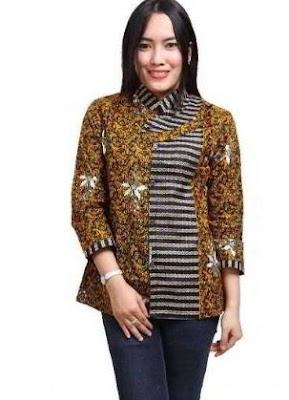 Kemeja Batik Wanita Lengan Panjang Terbaru Kombinasi Warna