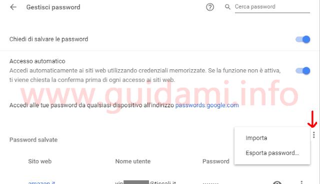 Chrome schermata Gestisci password funzioni Importa e Esporta password