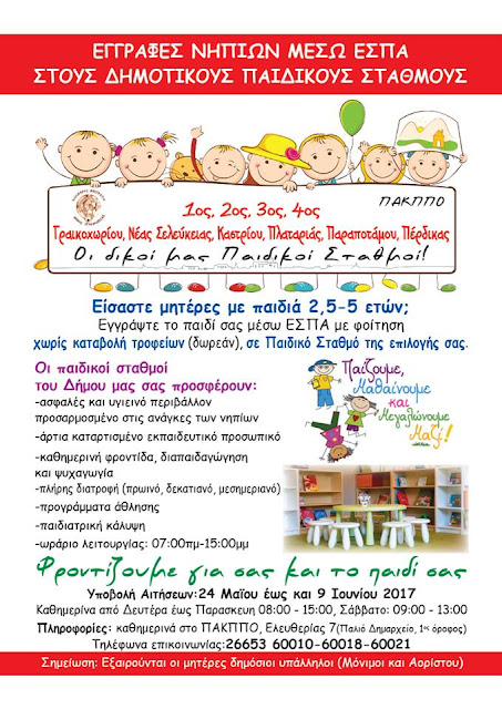 Ηγουμενίτσα: Εγγραφές νηπίων μέσω ΕΣΠΑ στους Δημοτικούς Παιδικούς Σταθμούς