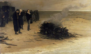 Shelley's cremation on the beach at Viareggio as depicted by the French artist Louis Édouard Fournier