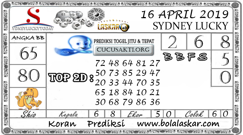 Prediksi Togel SYDNEY LUCKY TODAY LASKAR4D 16 APRIL 2019