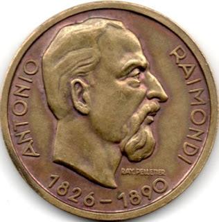Medalla con imagen de Antonio Raimondi (1826 - 1890)