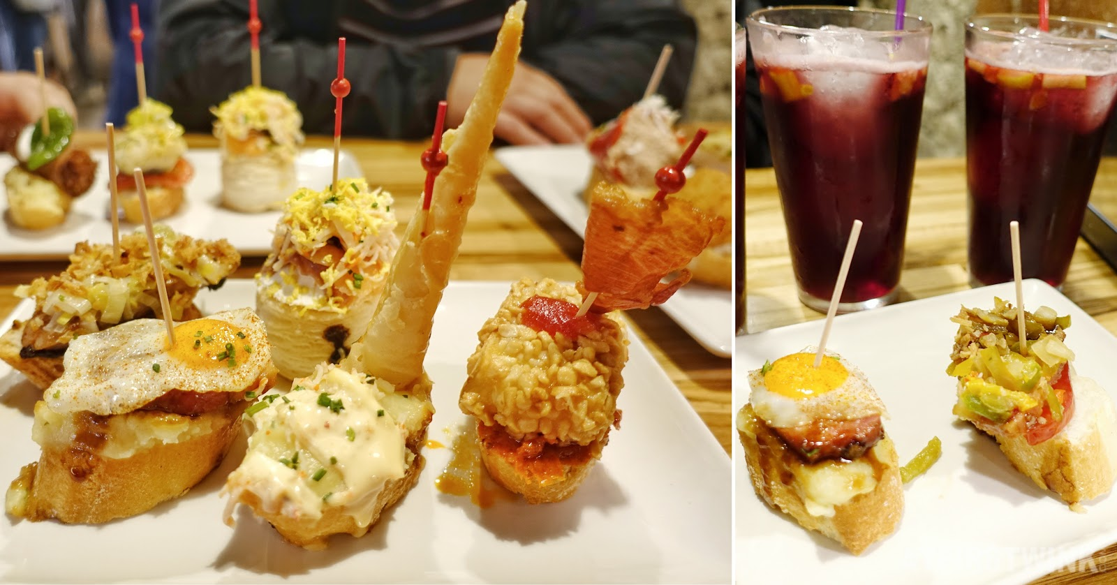Pinchos and drinks in Barcelona Spain baguette toppings sangria