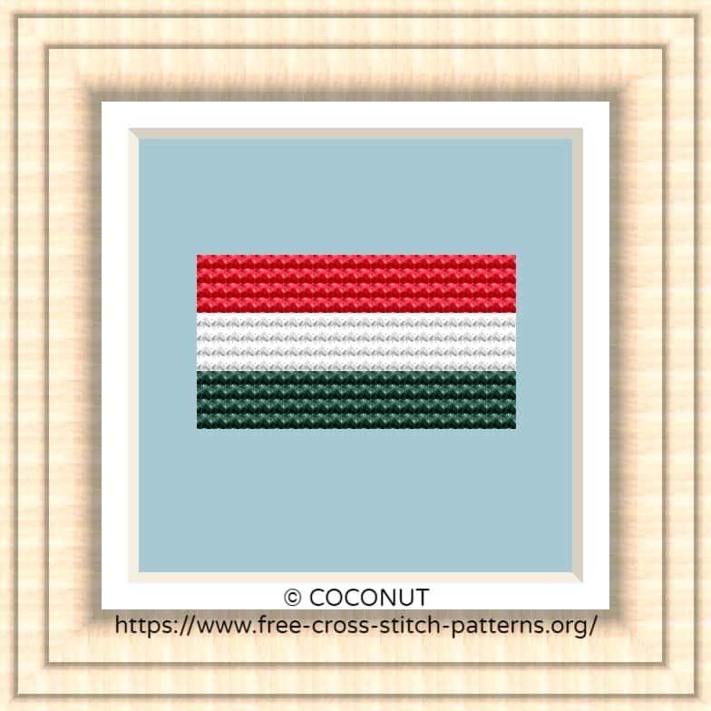 NATIONAL FLAG OF HUNGARY CROSS STITCH CHART