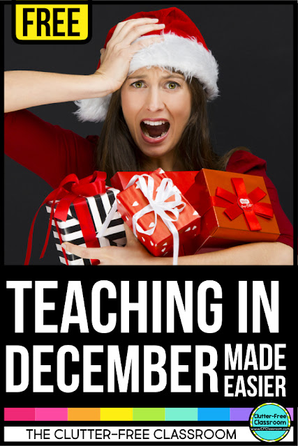 Free tips, holiday printables, Christmas resources, seasonal book lists and more for busy elementary school teachers for a stress-free December. Happy Holidays from The Clutter-Free Classroom