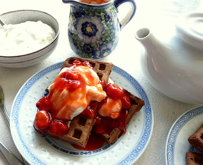 Chocolate Waffles with Marmelade Cream & Fruit Sauce