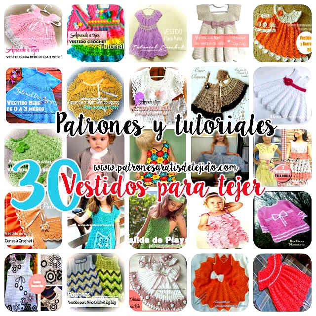 30 patrones y tutoriales de vestidos crochet y dos agujas para niñas