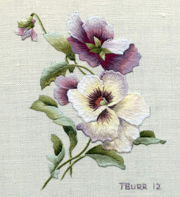 Original version of thread painted 'Victorian Pansies' design by Trish Burr