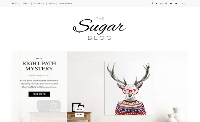 Sugar Responsive Best Free Galler and Photography Blogger Template