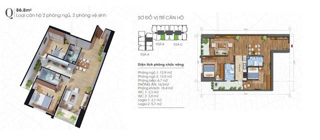 Thiết kế căn 86m - 2 phòng ngủ Ecolife Tây Hồ