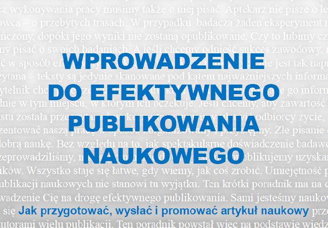 """Fragment okładki publikacji """"Wprowadzenie do efektywnego publikowania naukowego"""""""